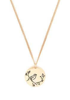 Tweet Rewards Necklace. You work hard, volunteer, and help out all your pals, so do something nice for yourself and add this bird-stamped gold necklace to your life! #gold #modcloth