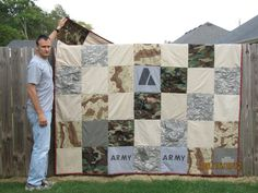 Military Uniform Quilt. I'll probably never make one of these, but I think this one is fantastic.