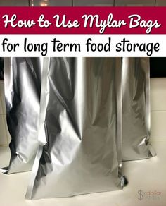 How to Use Mylar Bags to Preserve Food - Curious how to use mylar bags in your emergency preparedness and long term food storage? Let me show you how easy it is! Emergency Preparedness Food Storage, Disaster Preparedness, Survival Prepping, Survival Skills, Survival Gear, Emergency Planning, Emergency Supplies, Homestead Survival, Survival Shelter
