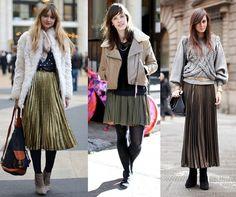 street style faldas plisadas