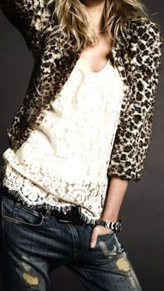 Fall style ♥ leopard, lace & denim