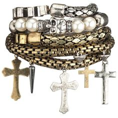 Cross and skull mixed metal bracelet set ($16) ❤ liked on Polyvore
