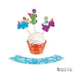 Rule the earth with adorable dino birthday party treats and cute dinosaur accessories. These Little Dino Cupcake Wrappers with Picks help make your dino ...