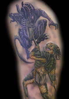 Realistic Alien Tattoo For Man Predator Tattoo, Alien Tattoo, Aliens Funny, Demon Art, Alien Vs Predator, Xenomorph, Tattoo Designs Men, Picture Tattoos, Tattoos For Guys