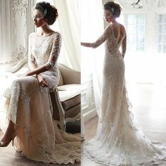 Vintage Wedding Dresses Ivory Half Sleeves Lace Appliques Sheer Backless Romantic Bridal Gowns Corset Scoop Dress For Bride With Court Train Champagne Wedding Dresses Cheap Plus Size Wedding Dresses From Firstladybridals, $111.72| Dhgate.Com