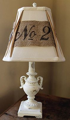 Stencil messages on burlap and add to an ordinary lampshade.  Recycle, Upcycle, RePurpose, Salvage!  For ideas and goods shop at Estate ReSale & ReDesign, in Bonita Springs, FL