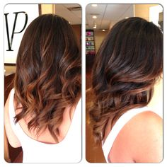 soft balayage highlights on dark hair by alisa @vp salon westfield