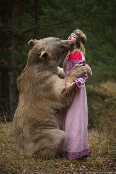 Russian girl with a bear(Stepan). East Of The Sun, Bear Girl, Love Bear, Polar Bear, Kangaroo, Fairy Tales, Animals, Russia, Dreams