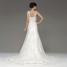 Appliqued straps empire waist lace wedding dress