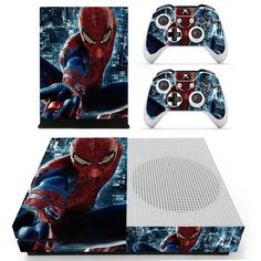 Avengers Spiderman Skin Sticker Decal For Xbox One S Console and Kinect and 2 Controllers For Xbox One Slim Skin Sticker Vinyl Best Superhero, Superhero Design, Amazing Spider Man Costume, Xbox One Skin, Console Styling, Ps4 Skins, Xbox One Console, Men Design