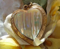 SOLD VINTAGE ANTIQUE? Large GOLD GP Mother Pearl Heart Locket Pendant Charm Jewelry #Unbranded #HeartLocketCharmVINTAGEANTIQUE