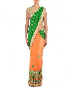 Kelly Green and Orange Sari with Golden Leafy Motifs - $79