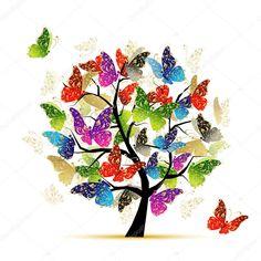 İndir - Tasarımınız için Kelebekler ile sanat ağacı — Stok İllüstrasyon #9155747