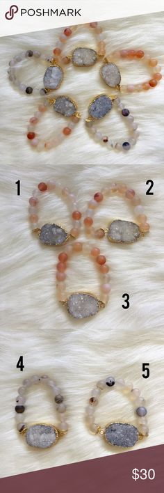 Gold plated druzy and frosted agate bracelet Handmade bracelet with frosted agate beads and a gold plated white/gray druzy pendant. Please choose the corresponding number when placing an order. J Jewelista  Jewelry Bracelets