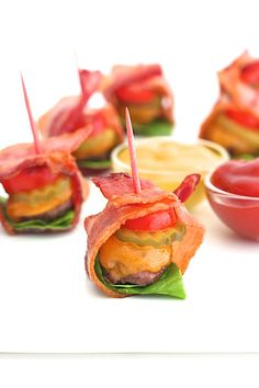 Bacon-Wrapped Cheeseburger Bites - perfect for game day! | The Baker Mama