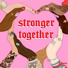 Stronger Together Diversity Art Print Illustration and Motivational Quote - Square Black Girl Art, Black Girl Magic, Divas, Protest Art, Square Art, Feminist Art, Feminist Quotes, Intersectional Feminism, Pink Aesthetic