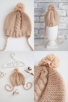 Baby bonnets knitted, Beige knit hat for newborns, girl beanie, boy hat, knitting cap pom pom, baby shower gift (for age 0-3 months) Baby Hats Knitting, Knitted Baby, Crochet Hats, Girl Beanie, Baby Bonnets, Newborns, 3 Months, Baby Shower Gifts, Winter Hats