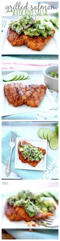 Grilled Salmon with Avocado Salsa (Healthy Salmon Recipe!) Grilled Salmon with Avocado Salsa. Delicious healthy and easy. Perfect for the warmer weather! {The Cookie Rookie} Source by Think Food, I Love Food, Food For Thought, Good Food, Yummy Food, Tasty, Seafood Dishes, Seafood Recipes, Cooking Recipes