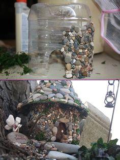 DIY Stone Fairy House from Plastic Bottle Tutorial