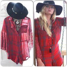 Festival Romper,Fall flannel 90s gunge romper, Bohemian gypsy wanderlust traveling romper, Festival clothing, Red top, True rebel clothing  The