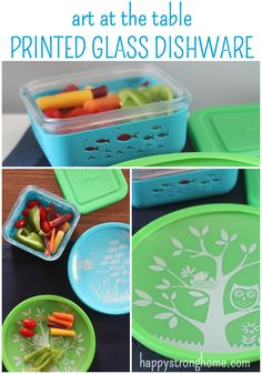 Bring artistry to the table for your kids with charming printed glass dish ware - plates and containers feature different designs, and are made with eco-friendly glass and silicone keep your kitchen safe and the smiles coming! (ad)