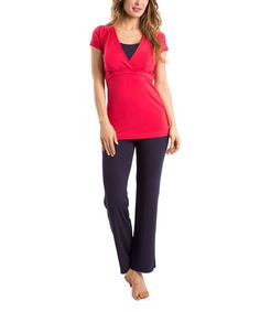 Navy Blue & Red Maternity/Nursing Pajama Set