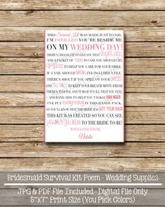 Bridesmaid Survival Kit - 5 x 7 Digital File - Bridesmaid Thank You - Survival Kit Card on Etsy, $6.50