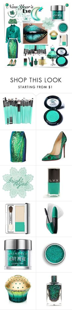 """""""New Year's Eve - Green with Envy"""" by sinupgirl ❤ liked on Polyvore featuring beauty, See by Chloé, Medusa's Makeup, River Island, Christian Louboutin, Prada, LVX, Clinique, Revlon and Urban Decay"""