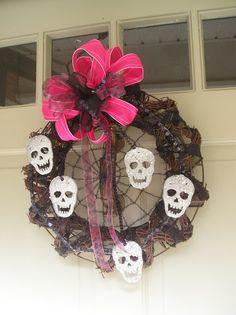 Fab Alternative or Gothic Wedding Wreath Hot Pink and Black by EightTreeStreet