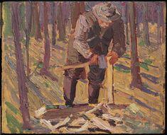 Tom Thomson Catalogue Raisonné | Man with Axe (Larry [sic] Dickson Splitting Wood), Fall 1915 (1915.98) | Catalogue entry
