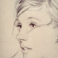 David (Dave)  Malan, female profile portrait drawing. davemalan.com