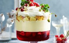 Classic Christmas trifle recipe - By Australian Womens Weekly, This traditional Christmas dessert is absolutely divine, layered with fresh strawberry and raspberry jelly, creamy mascarpone custard and sherry soaked sponge cake. Christmas Trifle, Christmas Treats, Christmas Lunch Ideas, Christmas Foods, Christmas Cakes, Christmas Parties, Christmas Christmas, Xmas Food, Christmas Cooking