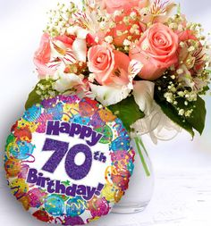 70th Birthday Flowers And Balloon Available For UK Wide Delivery From Order Flowerscouk