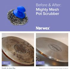 The Norwex Mighty Mesh Pot Scrubber makes cleaning a breeze. Tackle anything from dried-, burnt- and baked-on food on pots, pans, ovens and grills, to algae on fish tanks, watermarks on glass and ceramic tiles, and rust and lime buildup on showers and faucets!
