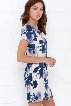 White Crow Desert Dream Blue Floral Print Shift Dress at Lulus.com!
