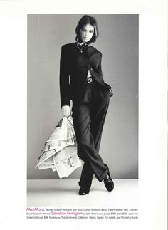 Chic suit swagger. Shot by the iconic Gilles Bensimon. Model: Patricia Hartmann