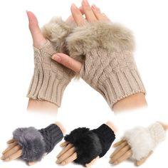 - Fashion Winter Arm Warmer Fingerless Gloves Knitted Fur Trim Gloves Mitten - Style: 2017 Fashion - Gloves Length: Wrist - Season: Winter - Colors : Dark Gray, White, Black, Leopard, Khaki - Season: