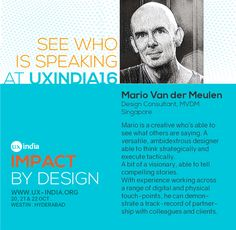 Don't miss India's biggest UX Conference. See who is speaking at UXINDIA 2016 #ux https://t.co/dsPFGRCB1z #Designthinking #@MarioVDMeulen