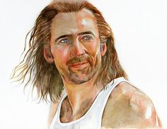 """Nicolas Cage, Print from Original Watercolor Portrait Painting, Con Air, Cameron Poe, """"Put The Bunny Back in the Box"""""""