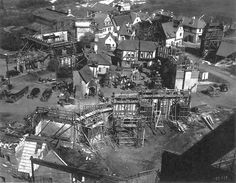 Arial shot of the Frankenstein Village, Universal Studios backlot, circa early Go To Movies, Old Movies, Vintage Movies, In And Out Movie, Classic Horror Movies, Bride Of Frankenstein, Classic Monsters, Film Studio, Hollywood Studios