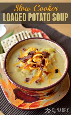 Slow Cooker Potato Soup is loaded with bacon, ham and cheese, great recipe for comfort food.