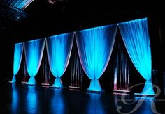 Thick voile fabric drops, with black fringe curtains Toronto Rentals, Stage Decorations, Wedding Decorations, Church Stage Design, Pipe And Drape, Stage Lighting, Staging, Wedding Inspiration, Wedding Ideas