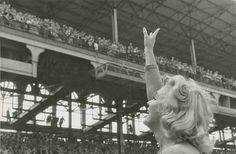 Marilyn Monroe at Ebbets Field for a soccer match between the U.S. National team and Israeli club Hapoel Tel-Aviv on Israel's 9th Independence Day, May 12th 1957