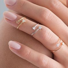 Gorgeous diamante tiny star rings.These gorgeous rings are available in White Gold, Gold and Rose Gold colours, as shown in the first photo. The later photos show the colours individually (hover the mouse over the photo to see the colour description). This set of two rings can be matching colours, or you can mix and match to create a look that is really on trend. The option of the additional ring can also be matching or different colour.A great piece to add to your jewellery box. These are…