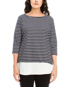 Look at this Navy Stripe Layered Sweater - Plus on #zulily today!