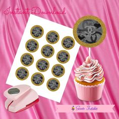 """Chanel Cupcake Toppers,Chanel Gift tags,Chanel Instant Download, Chanel Party Favor, Printable Labels, 2""""inch"""