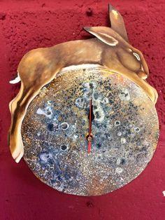 Hare on Moon Clocks Becky Munting.