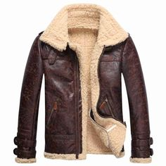 Vintage Mens Lambs Leather Fur Fleece Bomber Flight Winter Coats Buckle Jacket #Unbranded #BasicCoat