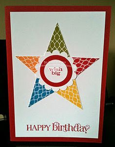 Oh, this is a great way to use the SU punch!  Love it!  star card using pennant punch/pennant parade.