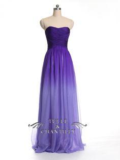 Purple Ombre Long Chiffon Prom / Bridesmaid Dress